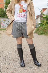 Hasche - Zara Trenchcoat, Next Shorts, Next Over The Knee Socks, Méduse Riding Boots - Wellies Autumn Look