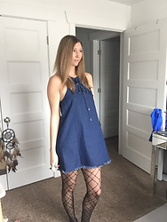 Cindy Batchelor -  - Denim halter Dress & Printed Fishnet Tights