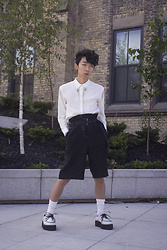 Samuel Oh - Etsy Bird Skull Collar Pin With Chains, Zara Dress Shirt With Metal Fringe, Zara Linen Shorts With Belt, Demonia V 502 White Platform Creepers - LINEN