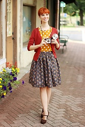 Bleu Avenue Ofbleuavenue - Handmade Autumn Floral Skirt, Qupid Brown Lace Heels, Mak Charter School Cardigan In Rust, Shein Polka Dot Top - Print Mixing