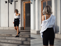 MONIKA S - Cycling Shorts, Square Neck Bodysuit, Cotton Poplin Shirt, Patent Leather Mini Bag, Leather Shoes - CYCLING SHORTS & WHITE BLOUSE