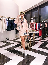 Illy Perez - Staud Murray Faux Leather Miniskirt, Mango Pink Biker Jacket, Gianvito Rossi Pointed Leather Booties, Nasty Gal Girl Boxx Leopard Print Crossbody 100% Exclusive, Bcbgmaxazria Bcbg Faux Leather Corset Waist Tie Belt, House Of She - Captains Where Pink Too