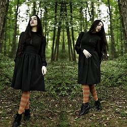 Ghost Siren - Deandri Nosferatu Dress, Sock Dreams Extraordinary Stripped Socks, Folk Tales Wooden Cathedral Necklace, Unknown Granny Boots - Pumpkin Spice Witch
