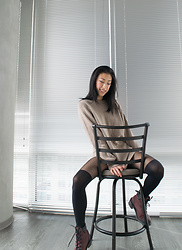 Gi Shieh - Stolen From Ex :D Beige Chunky Sweater, Macy's Thigh High Stockings, Dr. Martens Mauve Hiking Boots - Sweater Weather!! Are you sensing a trend here?