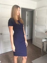 Cindy Batchelor - Chic Dark Blue Sheath Dress - Chic Dark Blue Sheath Dress