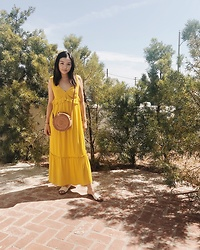 Haley D. - Target Yellow Dress, Etsy Straw Bag, Dolce Vita Sandals - Yellow.