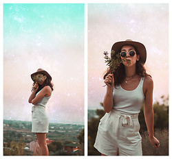 Theoni Argyropoulou - H&M Wool Hat, Tank Top, Mango High Waisted Shorts, Zaful Necklaces - Never ending summer & how I edit my IG photos