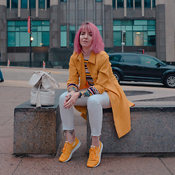 Jessie Barber - Metisu Striped Sweater, Reebok Classic Nylon Sp, Vintage Yellow Longline Trench, Cheap Monday White High Rise Denim, Zara Bucket Bag, Mockberg Gold Watch - The Number 12