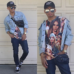Paul Zedrich - Calvin Klein Trucker Hat, Quay X Desi Perkins High Keys, Forever 21 Patch Denim Jacket, Eleven Paris Cara Tee, Asos Bum Bag, Vans Old Skool Sneakers, Joe Fresh Skinny Jeans - @CaraDelevingne