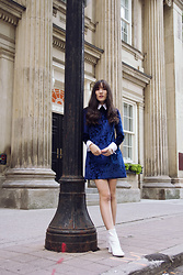 Carolina Pinglo - Pull And Bear Dress, H&M Blouse, Kiss Boots - Blue Velvet