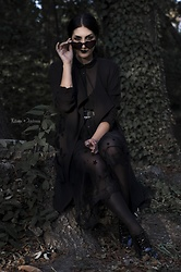 Ellone Andreea - Mango Heart Shaped Glasses, The Black Ravens Starry Mesh Skirt, Zara Lace Heels, H&M Trench Coat, H&M Sheer Top, H&M Black Stockings - Heart-shaped