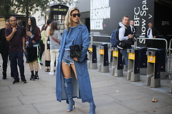 Louise Xin - Maxmara Max Mara Sunglasses, Denim Thigh High Boots, Denim Trench Coat - London Fashion week day 4 - All denim