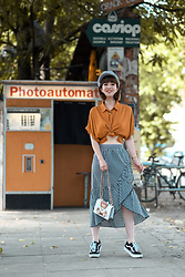 Esra E. - Mango Ruffled Midi Vichy Skirt, Forever21 Cropped Oversized Orange Blouse, Moschino Toy Bag, Vans Oldschool Sneakers - Vichy & photobooth