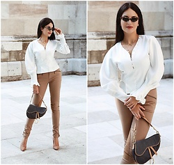Edisa Shahini - Blouse, Aigner Pants, Christian Dior Saddle Bag - Sleeves of Happiness