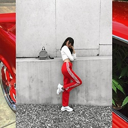 Isabelle Khr - Pull And Bear Checked Backpack, Adidas Tracksuit Pants, Zara Chunky Sneakers - Red alert