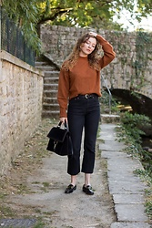 Summer R - And Other Stories Orange Knit Sweater, & Other Stories Black Cropped Flare Jeans, & Other Stories Black Loafers, Zara Suede City Bag - The Orange Jumper