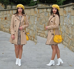 Natalia Uliasz - H&M Beret, Reserved Leopard Dress, Stradivarius Coat, Orsay Bag, White Boots - Autumn hits!