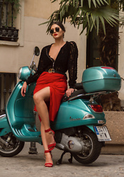 Wiktoria Celmer - Never Ever Sheer Bomber Jacket, Zara Red Skirt, Gucci Logo Belt, Zurbano Red Heeled Sandals - VAMOS!