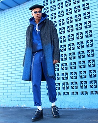 Dominic Grizzelle - T.U.K. Footwear Creepers, Pacsun Contrast Stitch Jeans, Ombré Trench - GIVE EM THE BLUES