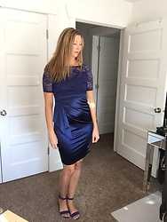 Cindy Batchelor - Chic Blue Satin Lace Dress - Chic Blue Satin Lace Dress