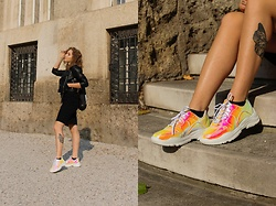Paula Avalon - Pull & Bear Black Leather Jacket, Zara Black Dress, Shoebox Holographic Sneakers - Holo dreams