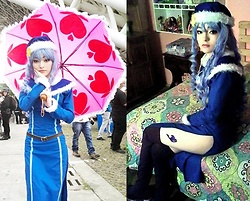 Nicole B. - Light Blue Wig, Blue Dress, Blue Cape, Brown Boots, Blue Hat, Nicole B. Custom Pink Umbrella With Hearts, Belt - (Cosplay): Juvia Loxar, Fairy Tail (S2)