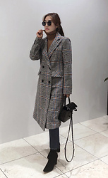 Miamiyu K - Miamasvin Check Wool Blend Coat - Classy Fall Lady