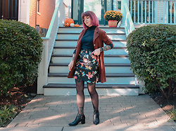 Jessie Barber - Silk Shirt Dress, Amazon Floral Faux Leather Skirt, Drugstore Tights, Thrift Black Turtleneck, Karl Lagerfeld Acasey Boot - Fall Florals