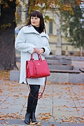 Moda_i_takie_tam - Jass Alpaca Wool Coat, Wittchen Red Bag, Szachownica Leather Pants, Rizzo Heels - Red lips girl