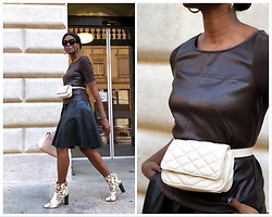 PAMELA - Mango Square Sunglasses, Zara Leather Skirt, Mango Ladybag, Mango Belt Bag, Fsj Ankle Boots, Orsay Leather Top - Leather from head to toe