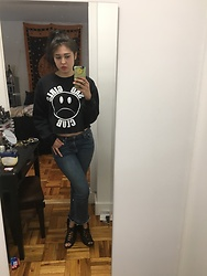 "Alexandra K - Nikki Lipstick Sad Girls Sweater, Rag & Bone Jeans, Urban Outfitters Shoes - ""It's funny because you have depression"" -my mother"