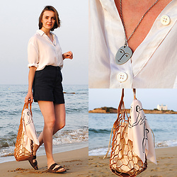 Ryfka (Szafa Sztywniary) - Vintage White Silk Shirt, Tu Navy Blue Shorts, Birkenstock Sandals, Kopi Face Necklace, Zara Bag, Kopi Scarf - Kalimera!