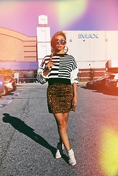 Eliza Romero - Dolls Kill Striped Cropped Sweater, Asos Leopard Denim Mini Skirt, Steve Madden White Slouch Ankle Boots, Dolls Kill Gold Queen Bamboo Earrings - Afternoon Glow