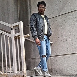 Jason - Zara Chunky Sneakers, Levi's Distressed Denim, Burlington Coat Factory Olive Bomber Jacket - Errand boy