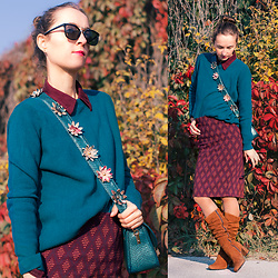 Iva K - Mango Knitted Top, Zara Skirt - Autumn colors