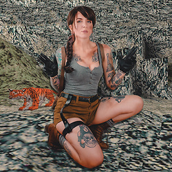 Jessie Barber - Amazon Brown Wig, Forever 21 Shorts, Forever 21 Grey Tank, Gloves, Socks, The Frye Company Lace Up Boots, Fjallraven Backpack, J. Crew Belt - Laura Croft
