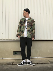 ★masaki★ - Obey Misfits ×, Vintage Military Jacket, Black Flag Band Tee, Nuew Denim Studio Relaxed, Vans Oldskool - Street×military×punk