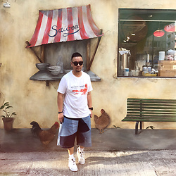 Mannix Lo - Uniqlo Print Tee, First Edition By Midwest Remade Patchwork Denim Shorts, Vans Vault Cut And Paste Sneakers - Let your heart be your compass