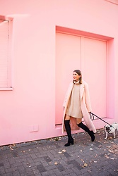 Malia Keana - Mango Coat, Zara Overknees, Zara Sweater Dress - Monochrome apricot