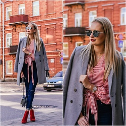 Madara L - Zara Grey Double Breasted Coat, H&M Red Striped Wrap Over Blouse, Forever 21 Dark Blue Denim Jeans, Stradivarius Red Ankle Boots, Nordgreen Silver Watch - Red is my fall colour