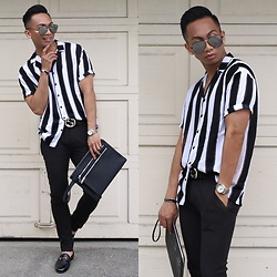 Paul Zedrich - Quay X Desi Black/Silver High Keys, H&M Short Sleeve Shirt, Asos Extreme Super Skinny Pants, Zara Zipper Clutch, Gucci Signature Belt, Hermès Hermes Clic Clac Bracelet, Gucci Horsebit Loafers, Tayroc Watch - Life's Gucci 🖤
