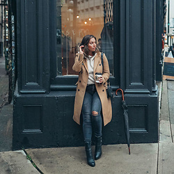 Alexandra G. - Aritzia Wool Coat - Rainy Day Style