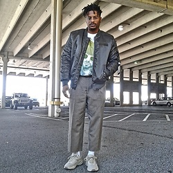 Jason - Zara Chunky Sneakers, Burlington Coat Factory Bomber Jacket, Rue21 Screen Tee - Floyd the Barber