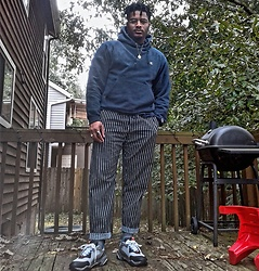 "Jason - Puma Electric Desert, Forever 21 Pinstripe Pants, Champion Navy Hoodie - ""No Place Like...."