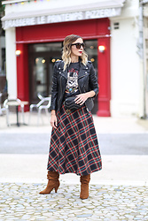 Lily Chelmey - Schott Biker, Zara Skirt, Promod Boots, Moony Mood Bag - Plaid Skirt