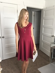 Cindy Batchelor -  - Maroon Scallop Neckline Dress