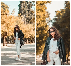 Theoni Argyropoulou - Pull & Bear Oversized Faux Leather Jacket, Stradivarius T Shirt, Levi's® Mom Jeans, Ugly Dad Sneakers, Bag, Bershka Necklace, Cat Eye Sunglasses - White Look for fall on somethingvogue.com
