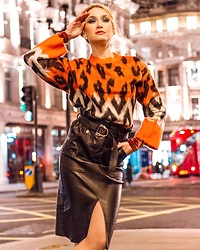 Miss Casual - River Island Leather Skirt, River Island Animal Print Jumper - Midnight feline