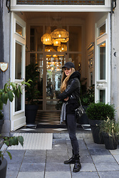 Mina T - Diesel Leather Boot, Diesel Mini Leather Bag, Boss Casmere Scarf, Diesel Shearling Jacket - Maastricht Fitz Roy Hotel