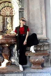Anna Borisovna - Zara Weste, Massimo Dutti Pants, Mango Shoes, Mellow Shirt, Massimo Dutti Belt - The Red Shirt